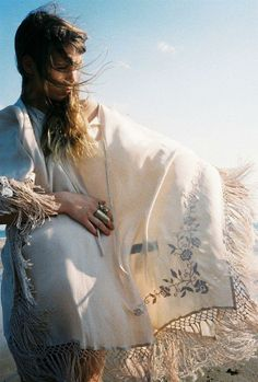 shawl fringe scarf white embroider flower floral pattern lovely breeze wind soft sweet pretty pale