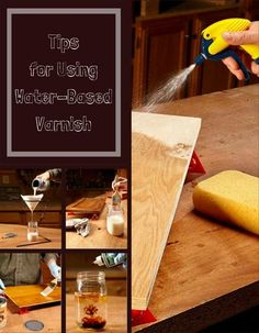 tips for using water based varnish - get great results from water-based finishes (Woodworking Ebanisteria) Paint Stain, Paint Finishes, Wipe On Poly, Oil Based Stain, Refinish Kitchen Cabinets, It Goes On, Home Repairs, Raw Wood, Painting Tips
