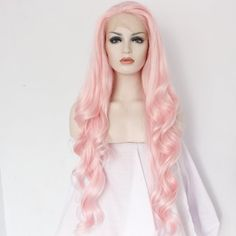 Ebingoo Handmade Women Synthetic Lace Front Wigs Cheap Heat Resistant Natural Long Wavy Fiber Hair Pink Color JLS098 (24inches)