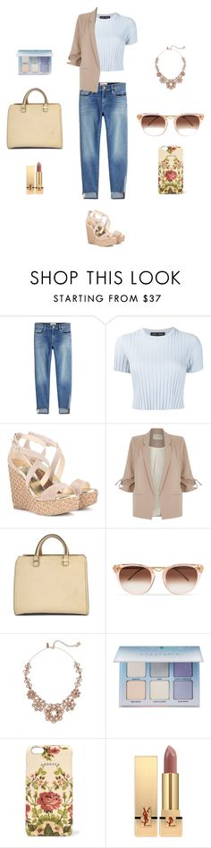 """""""Pink and Blue"""" by charlottes-styles on Polyvore featuring mode, Frame, Proenza Schouler, Jimmy Choo, River Island, Victoria Beckham, Thierry Lasry, Kate Spade, Anastasia Beverly Hills en Gucci"""