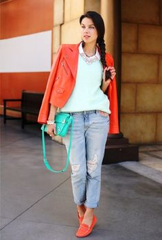 Boyfriend jeans coral blazer