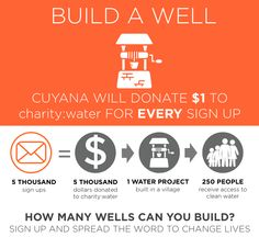Click to sign up and Cuyana will donate 1 dollar to charity:water!  Let's build wells together and change lives!