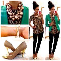Short sleeve cheetah print top, green blazer, skinny Dress Pants, gold cap toe pumps, champagne pearl cluster necklace & gold crystal bow bangle