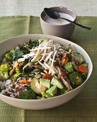 """From Gail Simmons new book """"Talking With My Mouth Full,"""" a quinoa and brown rice bowl with vegetables and tahini.  On Balance: """"When I'm taping a season of Top Chef Just Desserts, I eat dishes like this rice bowl early in the day, so at least I know I've gotten my veggies."""""""