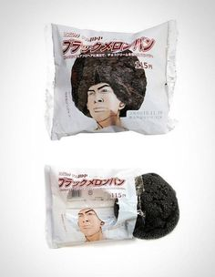 "Creative product packaging idea from Japan. According to one Internet commenter the packaging says ""Black melon bread."" More like a pastry snack out of a vending machine than just a cookie. Clever Packaging, Cookie Packaging, Food Packaging Design, Packaging Design Inspiration, Product Packaging, Bread Packaging, Packaging Ideas, Product Branding, Innovative Packaging"