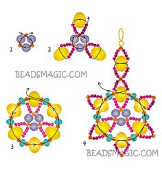 Free pattern for earrings Gala | Beads Magic - 2. U need Seed Beads 11/0 & 15/0, Pearl Beads 4 mm, Rondelle Beads 4mm & 8 mm.