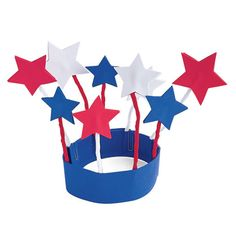 4th of July hat - This one calls for foam, but they'd be much easier with poster board, tape the pipe cleaners to the inside and glue stars back to back on the top.