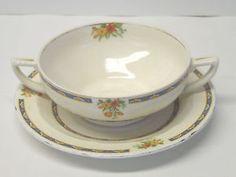 Vintage WH Grindley & CO Chelsea Ivory Porcelain Soup Bowl Saucer 714550 England #vintage #chelsea #ivory #whgrindley #wh #grindley #porcelain #england