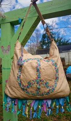 Be Peace - and Tie-Dye With This OOAK Upcycled Large Boho Bag with Hand-Painted Peace Sign and Decorative Tie-Dye Fringe and Beads! by BeEverythingTieDye on Etsy