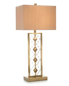 Brass lamp with cut out acrylic to mimic the shape of the center brass detail. 3 Way, 150 watt max type A bulb. Brass Table Lamps, Brass Lamp, Large Furniture, Home Furnishings, Moroccan, Luxury Homes, Art Deco, Bulb, Shades
