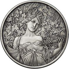 1 oz Antique Mucha Collection Champagne Silver Rounds from JM Bullion™