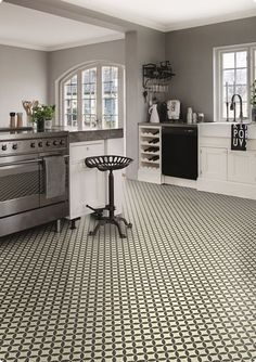Victorian Tile Design Vinyl Flooring Sheet Non Slip Lino Kitchen ...
