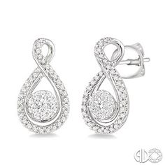 1/2 Ctw Invisible Set Round Cut Diamond Earrings in 14K White Gold