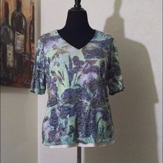 Pull-over print blouse Blue, lavender and green blouse Coldwater Creek Tops Blouses
