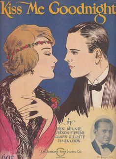 Kiss Me Goodnight 1924 Sheet Music Ben Bernie Vernon Stevens Gladys Gillette