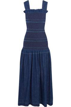 Stella McCartney | Ruffled smocked denim maxi dress | NET-A-PORTER.COM