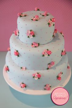 blue cake with flowers