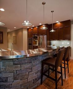 """Contemporary Kitchen with Pendant light, Powell 30.25"""" bar stool, can lights, One-wall, full backsplash, Stacked stone, Flush"""