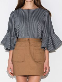 Gray Stripe Knitted Flare Sleeve Sweater