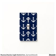 Nautical Anchor Light Switch Cover in Navy Blue