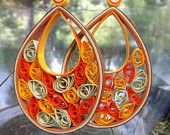 Large Fall Colored Quilled Earring