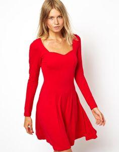 1abfbd36d3 Long Sleeve V Neck Skater Dress Asos Dress