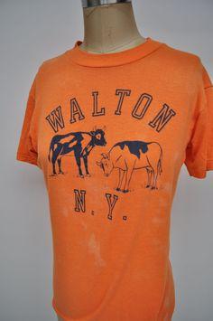vintage tshirt WALTON NY t-shirt oversized boyfriend fit new york COWS soft  and thin 6c91103c8