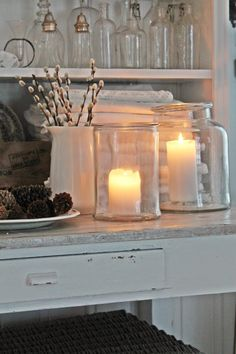 """Nice glass luminaries! Simple, but pretty. Would look nice with Candle Impressions Flameless 4"""" Pillars"""