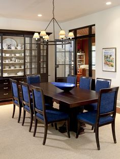Stunning Traditional Dining Room Design With Darkwood Coffee Table And Blue Upholstered Chairs Country Home