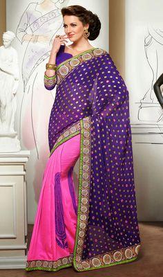 Deep Purple and Pink Viscose Half N Half Saree Price: Usa Dollar $104, British UK Pound £61, Euro77, Canada CA$113 , Indian Rs5616.