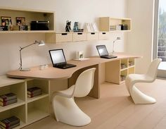Ergonomic Twin Kids Study Desk with Unique Chairs – DearKids Kids Bedroom Design for Two Study Table Designs, Study Room Design, Kids Room Design, Home Office Design, Home Interior Design, House Design, Room Interior, Interior Ideas, Modern Kids Bedroom