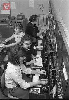 Telephone Operators working the switchboard, March 1966, Worcester Massachusetts.