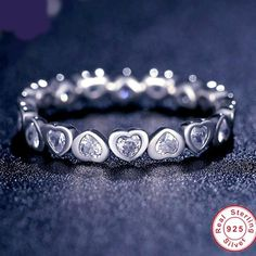 Chain of Hearts- 925 Silver Ring
