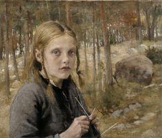 Albert Gustaf Aristides Edelfelt (Finnish painter), 1854 - 1905 A Girl Knitting Socks, 1886 oil on canvas s. William Adolphe Bouguereau, Finnish Women, Tricot D'art, Knit Art, Portraits, Portrait Art, Modern Artists, Alberto Giacometti, Knitting Socks