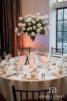 George Street Photography   #AldenCastle #LongwoodVenues #BostonWedding #Wedding #Bride #Groom #Reception  #Flowers #Love #Centerpiece #Tablescape #TallCenterpiece #LEDCandles #Favors www.georgestreetphoto.com www.longwoodevents.com