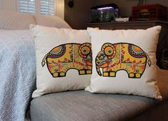 Painted Pachyderm Throw Pillows