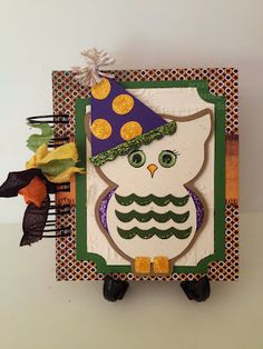 Owl Shaped Card Set and Fun With Owls Printable Stamps from The Cutting Cafe
