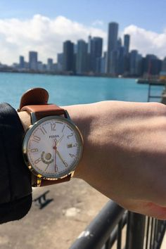 Never miss a beat in the big city with a perfect boyfriend watch. We love your #FossilStyle @thechangingline.