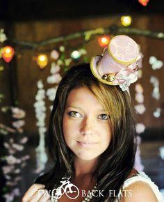 mini top hats, tea parti, costumes, gold mini, parties, hair band, alic hat, hat headpiec, costum top
