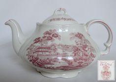 Pink / Red Toile Ironstone Transferware Tea Pot Teapot Tonquin English Waterfall Swans Sailboat