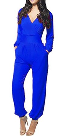27f661fd79 WANSHIYISHE Womens Sexy V Neck Long Sleeve High Rise Party Jumpsuits Rompers