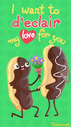 The Ultimate Easy DIY Valentines Day Guide - Food Meme - I Want To De Clair My Love For You food pun for a clever easy last minute Valntines Day Gift for him. The post The Ultimate Easy DIY Valentines Day Guide appeared first on Gag Dad. Funny Food Puns, Punny Puns, Cute Puns, Food Meme, Corny Jokes, Funny Humor, Funny Love, Cute Love, Cute Quotes