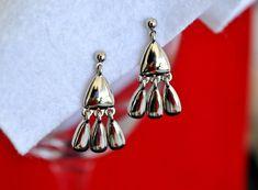 Vintage Dangle Earrings, Silver Tone, Silver Dangle Earrings, Silver Earrings, Pierced Earrings, Vintage Earrings, Triple Dangle  GS455 by GrannySmithsPlace on Etsy