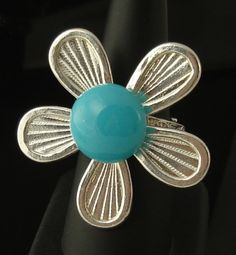 teal fused glass sterling silver ring