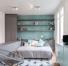 Chambre - vert de gris - décoration - rangement - inspiration - gris - détente
