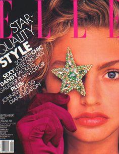Elle US, September 1989 Photographer : Gilles Bensimon Model : Michaela Bercu - Elle magazine was THE fashion magazine go-to in the (besides Vogue) Elle Fashion, Star Fashion, Fashion Photo, 90s Fashion, Fashion Magazine Cover, Fashion Cover, Magazine Covers, Dandy, Michaela Bercu