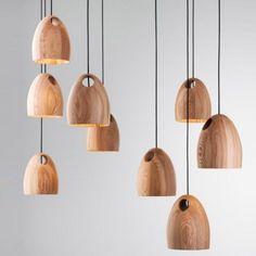 Natural Style Solid Wood Designer Mini Pendant Light for Dinning Room