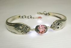 Silver Spoon Bracelet, Lovely Lady 1937, Peach Swarovski Crystals. $35.00, via Etsy.