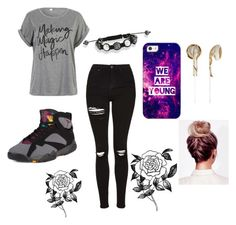 """Untitled #32"" by kitty2563 ❤ liked on Polyvore featuring Topshop, NIKE, WithChic, Casetify, Frends and Forever 21"