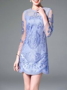 Shop Mini Dresses - Light Blue Floral 3/4 Sleeve Embroidered Mini Dress online. Discover unique designers fashion at StyleWe.com.